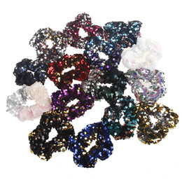 hair two ponytails 2019 - Two-color mermaid sequins hair band Rope Scrunchie Ponytail Holder Elastic lady children's hair band ponytail hairb