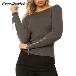 $enCountryForm.capitalKeyWord Australia - FREE OSTRICH Women's fashion side lace-up sleeves round neck knit sweater wrap pullover personalized comfort wild sweater 2019