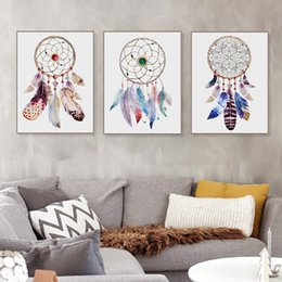 Painting & Calligraphy Colorful Feather Nordic Art Poster Solid Color Based Wall Paper Pretty Canvas Mural Painting Decorations For Tv Sofa Background Crazy Price