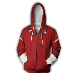 inuyasha cosplay NZ - New Inuyasha series 3D printed zipper Hoodie men and women Hip Hop xxxtentacion streetwear Sweatshirt coat cosplay anime around