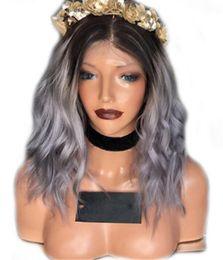 grey woman wig 2019 - 8A Grade Hair Wig Brazilian Glueless Full Lace Wigs #1b Grey Ombre Body Wave Human Hair Lace Front Wigs Black Women chea
