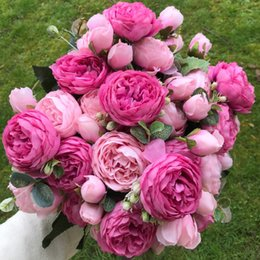 Beautiful White Rose Flowers Bouquet Australia - 2019 Silk Rose Peony Artificial Flowers Beautiful Flores Bouquet for Wedding Party Home Decoration Mariage Fake Flowers A49B25