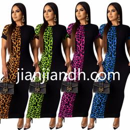$enCountryForm.capitalKeyWord NZ - 3834 Cross-border 2019 European and American women Leopard print bat sleeve stitching dress Long skirt Nightclub dress 809941567