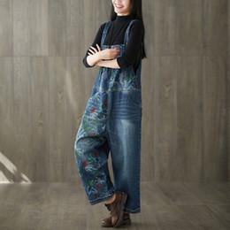 784ca1b3d03 Women Wide Leg Bib Jean Jumpsuits Vintage Printed Flower Denim Overalls Big  Size Drop Crotch Denim Rompers Suspenders Pants