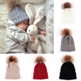 Red bobble hat online shopping - Cute Mother Baby Newborn Babies Knitting Pom Bobble Kids Hat Winter Warm Knit Wool Beanie Knitted Matching Cap Crochet Ski Hat