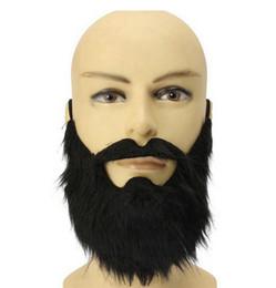 Ingrosso Fake Black Beard False Moustache Fancy Dress False Barbe nere Maschere per feste di Halloween Puntelli per Cosplay
