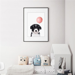 Pink Decorative Paintings Australia - The White and Black Dog Is Pulling A Pink Balloon Minimalist Canvas Painting HD Wall Picture Poster And Print Decorative Home Decor