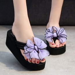 $enCountryForm.capitalKeyWord Australia - Slippers Female Summer Bow Wedge Sandals and Slippers Flip Flops High Heel Women's Slippers Thick Bottom