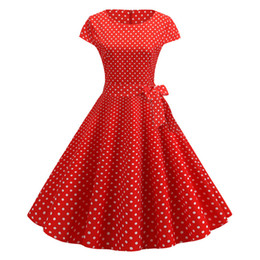 red dot clothing NZ - #JY13964 Kwaii Red polka dot Printed O-neck short sleeve back zipper Women's clothing causal retro pendulum Dresses free shipping
