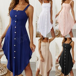 $enCountryForm.capitalKeyWord NZ - Sleeveless Strapless Button Sling Dress 5 Colors Sexy Dresses Solid Color Lotus Hem Style Sexy Cool Apparel Good Fabric