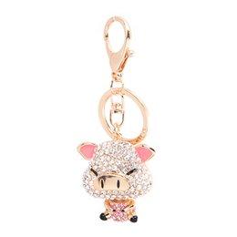 Chinese  Pretty Sparkling Pig Piggy Keychain Keyring Crystal Rhinestones Purse Pendant Handbag Charm the Perfect Gift for Lover's of Fantasy manufacturers