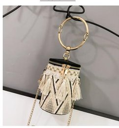 wind straw NZ - Chain National Wind Ring Shoulder Bag Straw Woven Cylinder Small Bag Fairy Tassel Bucket Bag