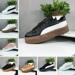 Wholesale Rihanna Riri Fenty Platform SD Creeper Velvet Pack Burgundy White Black Color Pink Brand Ladies Classic Casual Shoes