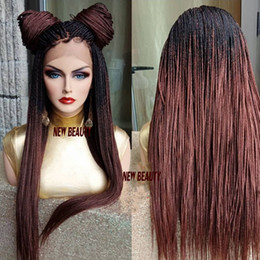 Red daRk bRown wigs online shopping - 250density full lace front braid wigs Ombre brown color Jumbo Braids wig For black women micro braided wig with baby hair