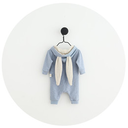 18 Month Old Clothes Australia - WLG newborn rabbit style spring autumn rompers baby girls boys casual cotton romper zipper long sleeve clothes 0-18 months old