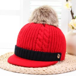 Knitted ornaments online shopping - Winter Warm Knitted Wool Baby Hat Fur Ball Pompom Cute Flat Caps Chrimas Gifts