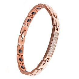 $enCountryForm.capitalKeyWord UK - Pure titanium bracelet magnet health silver jewelry stainless steel ochre rose gold women men charm bangle bracelet by DHL fast shipping
