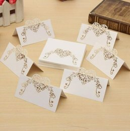 Heart sHaped wedding place cards online shopping - Laser Cut Heart Shape Place Cards Wedding Paper Name Cards For Wedding Party Table Decoration Decor