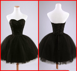 $enCountryForm.capitalKeyWord Australia - Real Image Black Short Cocktail Dresses sexy Sweetheart Beaded Lace Tulle Tie up Back Ball Gown Mini Party Dresses Prom Gowns Custom Made