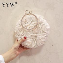 $enCountryForm.capitalKeyWord Australia - White Canvas Handbag With Rhinestone Floral Clutches Elegant Wedding Clutch Bag Purse Ladies Beige Round Top Handle Hand Bags