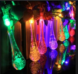 christmas lights drops UK - Newest Solar Powered Water Drop 20 Led Light 5m Outdoor String Lights For Outside Garden Patio Christmas Led Lights Copper Wire