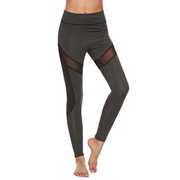 Discount yoga pants designs Women Yoga Pants Women Fashion Casual Sports Gothic Insert Mesh Design Pants Big Size Black Capris Sportswear New Fitnes
