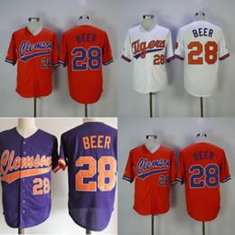 $enCountryForm.capitalKeyWord Australia - Clemson Tigers College Baseball Jerseys #28 Seth Beer All Stitched White Orange Purple NCAA Baseball Jersey S-3XL Free Shipping