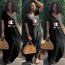 Wholesale Women Champions Letter Dress Loose Off Shoulder Split Dresses Summer Short Sleeve Low Back Skirt Sports Casual Club Clothing Black A41602