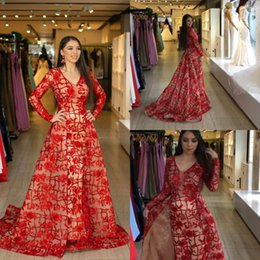 Quinceanera Dresses White Detachable Australia - 2019 Red Sequined Evening Dresses With Detachable Train V Neck Lace Long Sleeve Prom Dress Party Wear Rose Flower Quinceanera Dresses