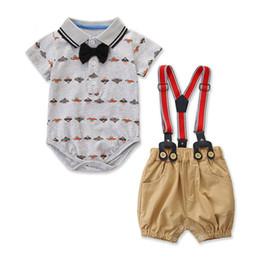 $enCountryForm.capitalKeyWord Australia - Ins Cartoon Newborn Outfits baby boy clothes Summer boys romper+ suspender short Boys Clothing Sets baby suits Infant Clothes A5631