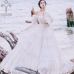 $enCountryForm.capitalKeyWord Australia - YOSIMI 2019 Summer Lace Long Women Dress Evening Party Maxi Vintage Lady White Off The Shoulder Floor-length Tassel Dress Tunic T5190615