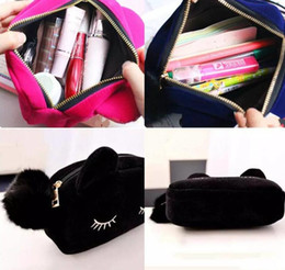 japan stationery wholesalers NZ - Cartoon Makeup Case Cute Cat Plush Big Large Storage Bag For Girls Kids Office School Supply Cosmetic Bag Stationery