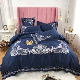 Black Egyptian Cotton Bedding Australia - 60S Egyptian cotton Green Pink Blue White Luxury Royal Embroidery Bedding Set Duvet Cover Bed sheet Bed Linen Pillowcases 4pcs bed set