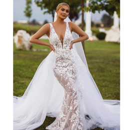 modern champagne wedding dresses NZ - Detachable Overskirt Wedding Dresses 2 Pieces Removable Train Champagne Lining White Lace Tulle Mermaid Bridal Gowns 2020 New Modern
