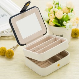 White Display Cases Australia - B Fashion Cosmetic Leather Jewelry Box Necklace Ring Storage Case Organizer Display for traveling Display With Mirror PU Leather