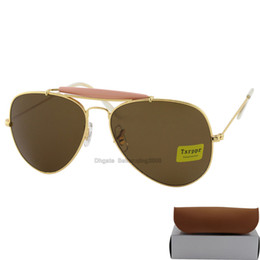 Chinese  1pcs New Arrival Txrppr Designer Pilot Sunglasses For Mens Womens Outdoorsman Sun Glasses Eyewear Gold Brown 62mm Glass Lenses With Box manufacturers
