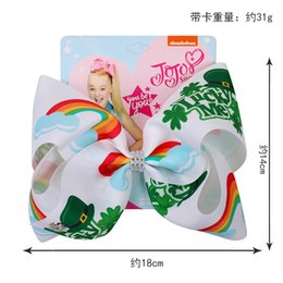 "Large Girls Hair Clips Australia - NEW 8PCS  8"" Jojo Bows for Girls  Jojo Siwa Large St. Patrick's Day Hair Bows for Girls Kid with Clips Bowknot Handmade Hair Accessories"
