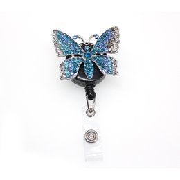 zinc alloy badge NZ - 20pcs New a lot Zinc Alloy Rhinestone Animal Blue Butterfly Retractable Pull Badge Scroll Decoration with Clip ID Badge Holder