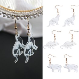 4e82ea977 Beautiful Rabbit Drop Earrings New Creative Bird Pig 1Pair Cat Girls  Acrylic Penguin Wedding Transparent Animal Mouse Skeleton