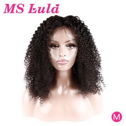 ms lula hair NZ - Afro Kinky Curly Wig Pre Plucked Brazilian Hair Wigs MS Lula Remy 150 Density 13x4 Lace Front Human Hair Wigs For Black Women