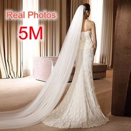 veil jewelry NZ - Free Shipping Real Photo 5m White ivory Wedding Veil Multi-layer Long Bridal Veil Head Veil Wedding Accessories Hot Sell Md03034 C19041101