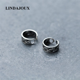 Thai earrings online shopping - Vintage Braid Band Thai Sterling Silver Clip Earrings No Piercing For Women sterling silver jewelry Clips Earring