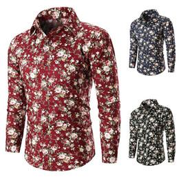 Men Flower Print Shirts Australia - 2018 New Men Autumn Casual Flower Printed Long Sleeve Shirts Male Slim Flower Shirts Vintage Men Shirt 3 Colors M-3XL