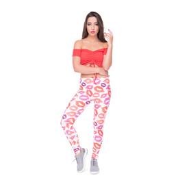 28729df289d925 Girls Lip Pants UK - Woman Leggings Lips White 3D Digital Full Print Spring  Summer Autumn