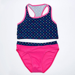 child girls bathing suits Australia - Baby Girls Two Pieces Swimsuits Girl Vest Bikinis Set Tankini Biquinis feminino Child Swimwear Kids Bathing Suit maillot de bain