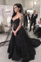 $enCountryForm.capitalKeyWord Australia - New Black Spaghetti Straps Wedding Dresses Lace Sweep Train Gothic Style Mermaid Wedding Bridal Gowns Custom Made