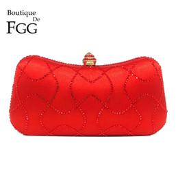 Handbag Boutiques NZ - Boutique De FGG Red Crystal Evening Purse Party Minaudiere Bag Bridal Clutch Wedding Shoulder Diamond Handbag Bolsas De Festa