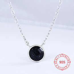 Rhodium Plated Silver Jewelry Australia - Dark Purple Round Crystal Charms S925 Sterling Silver Rhodium Plated Jewelry Necklace For Fashion Women Present