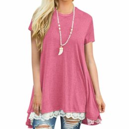 7a0e362d20d5b1 Blouse pipe online shopping - New Casual Loose Splice Lace Shirt Women  Summer Short Sleeve Tops