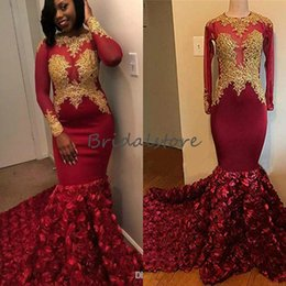 $enCountryForm.capitalKeyWord Australia - Fitted Maroon Black Girls Prom Dresses Slay With Sleeves And Gold Appliques Tight Fishtail 3D Rose Floral Formal Evening Gowns Elegant 2019